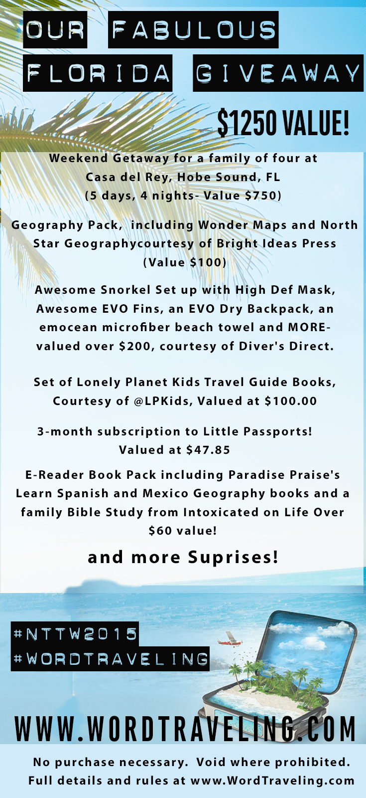 $1250 Florida Travel Giveaway #NTTW WordTraveling.com
