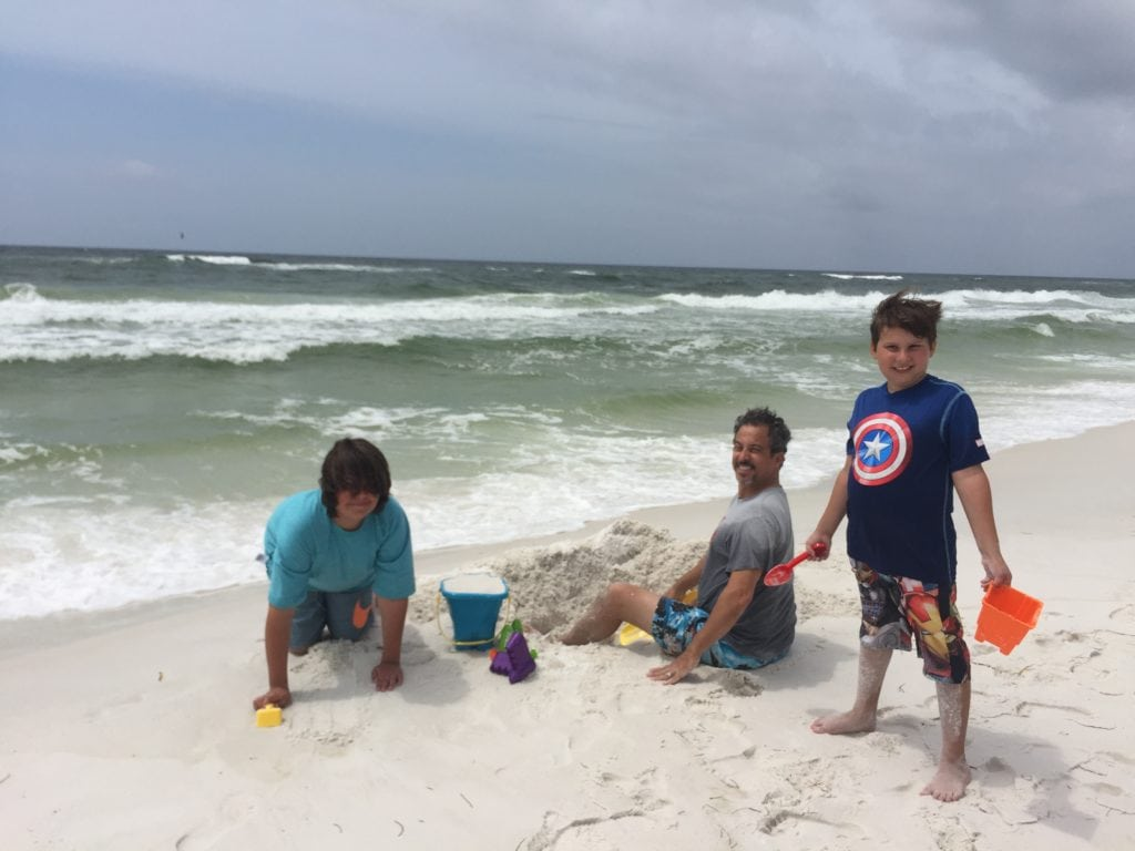 building sandcastles in Destin, Florida