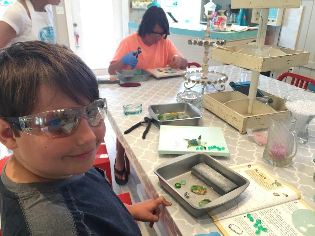 art glass class at the Shard Shop in Destin
