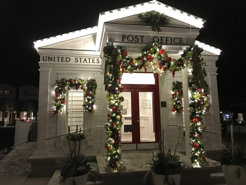 Seaside, Florida post office Christmas lights