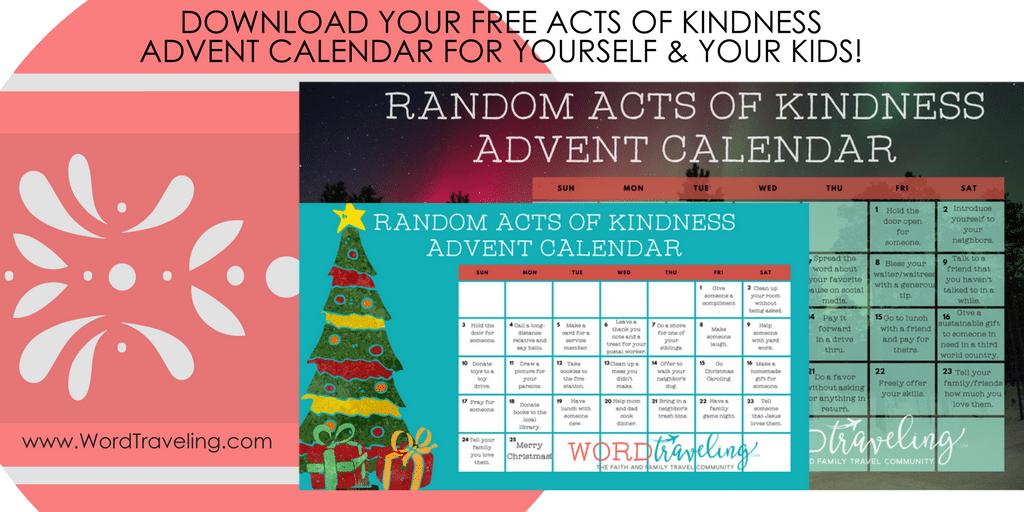 Kids Kindness Calendar : Random acts of kindness advent calendar word traveling
